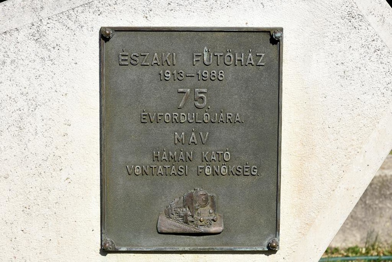 Hungarian Railway Museum, Budapest, 6 May 2018 3.  Plaque commemorating the depot's 75 years of service.