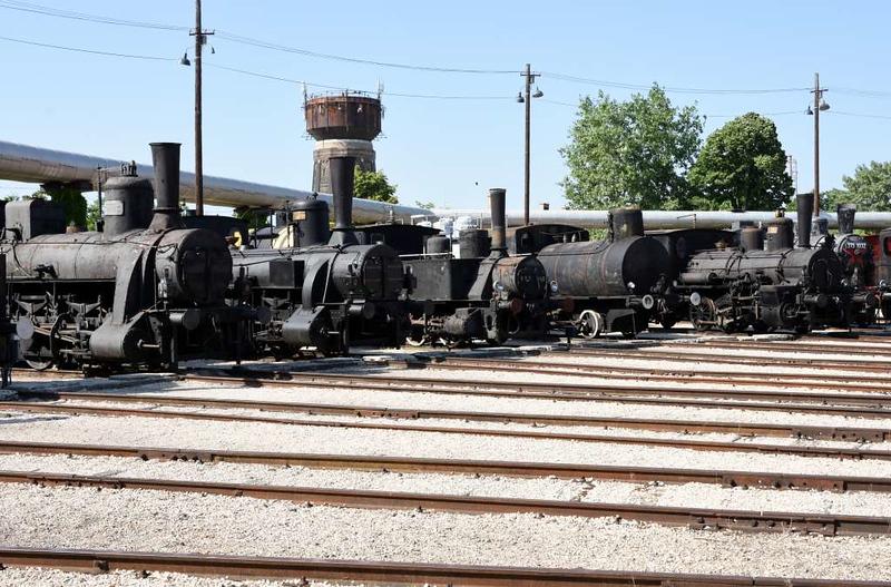 MAV 0-6-0 2459 (left), GYSEV 0-6-0 17, MAV 0-6-0T 377 493, MAV 0-4-0F 91 001, MAV 0-6-0 7111 & MAV 2-6-2T 375 1032, Hungarian Railway Museum, Budapest, 6 May 2018.