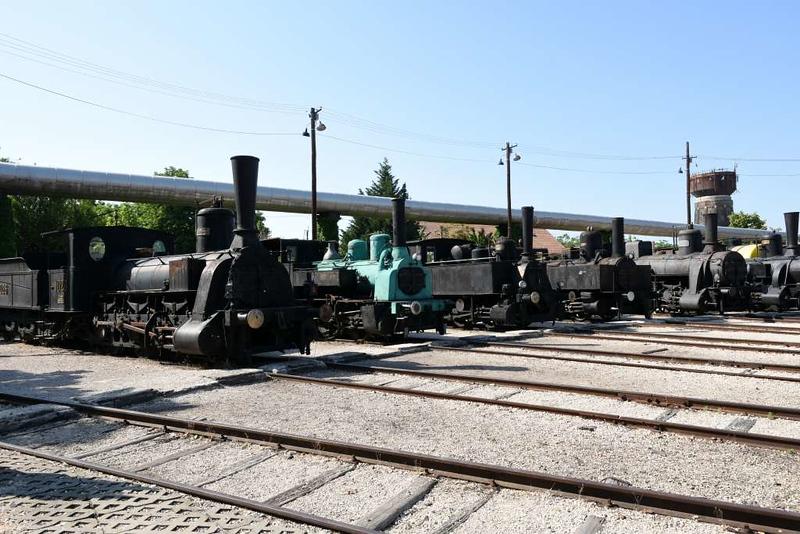 Sarvan sugar mill 0-6-0 1026 (MAV 341.012, left), KKStB 0-6-0T 480, MAV 0-6-0T 765, Garam Valley sugar mill 0-8-0T 2 & MAV 0-6-0 2459, Hungarian Railway Museum, Budapest, 6 May 2018.