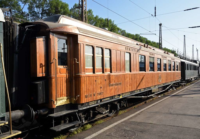 MAV restaurant car 2347, Nyugati station, Budapest, Sun 6 May 2018 1.  The consist on all the RTC trips was two coaches flanking a restaurant car.  Wooden-bodied 2347 was only used on the 6th as it was not allowed on the other routes.