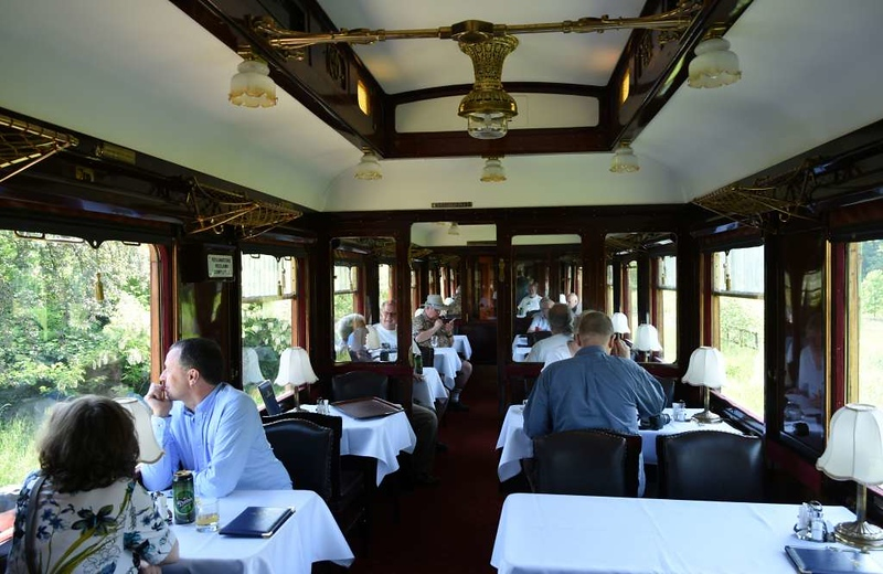 MAV restaurant car 2347, Vackisujfalu, Sun 6 May 2018.  Morning coffee.  Lunches and some dinners were taken in the restaurant car.