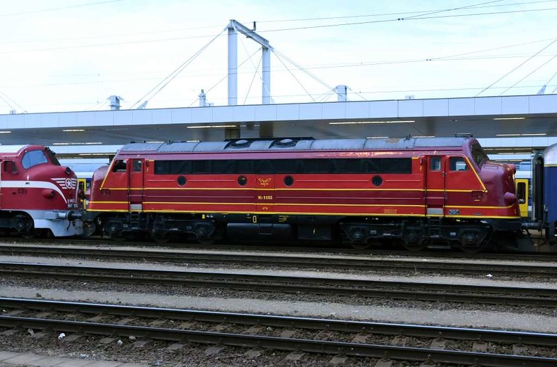 Altmark Rail My 1155, Kelenfold station, Budapest, Thurs 10 May 2018.  Altmark is a German rail freight company which uses former Danish (DSB) Nohabs.
