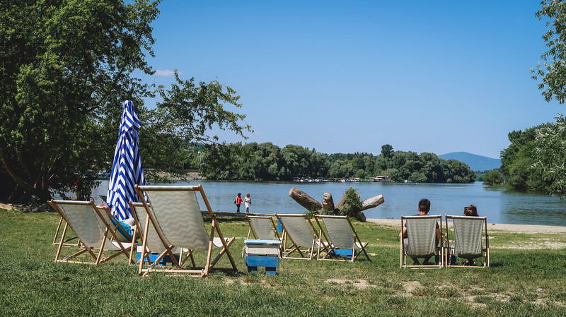 Beach chairs on the Danube River in Szentendre.
