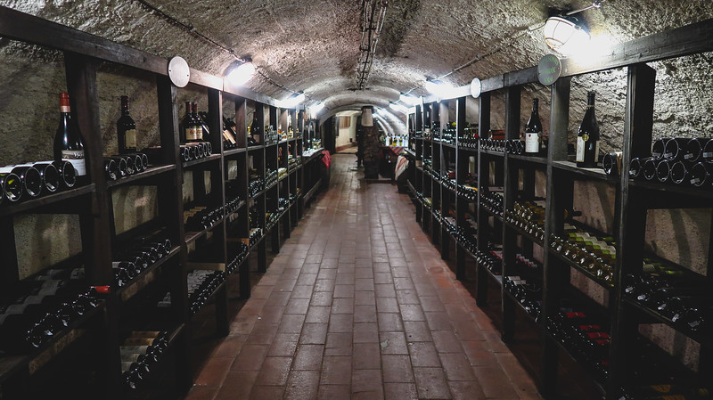 Touring the wine cellar under the Labirintus Restaurant in Szentendre.