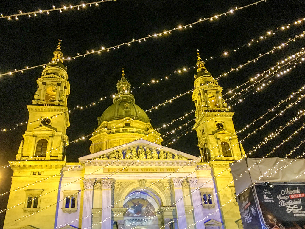gorgeous christmas lights during winter in budapest