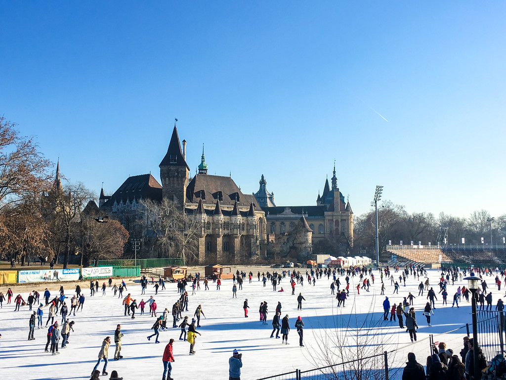 a typical budapest winter scene. cold ice and skating!