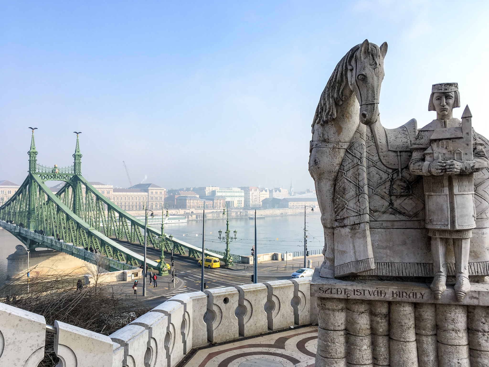what to wear in budapest in february: warm clothes for hiking up the hillside