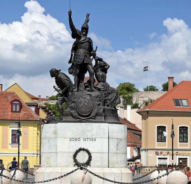 Statue of Istvan (Stephen) Dobo, Eger, Hungary, 8 May 2018.  Dobo sucessfully defended Eger Castle against the Ottoman Turks in 1552.