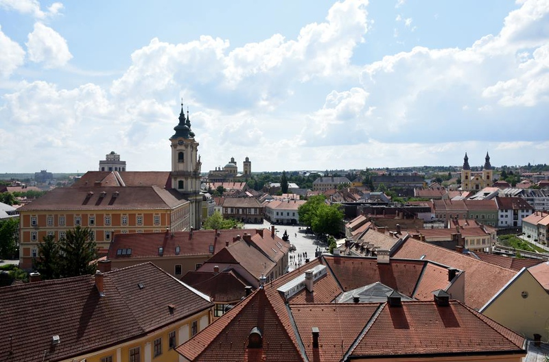 Eger, Hungary, 8 May 2018 1.  Looking south west from the castle towards the town square.
