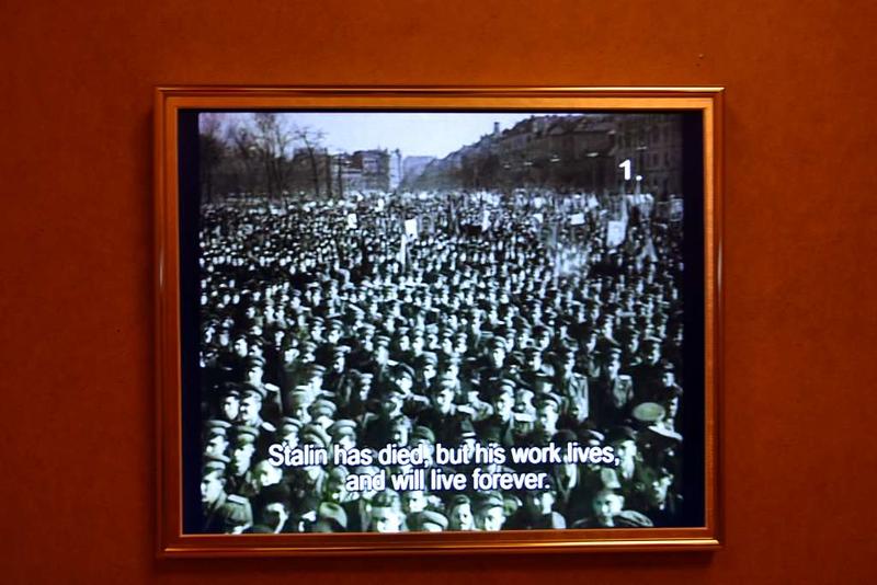 Stalin eulogy, House of Terror Museum, 60 Andrassy Avenue, Budapest, 12 May 2018.  A propaganda film from 1953.