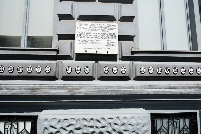 House of Terror Museum, 60 Andrassy Avenue, Budapest, 12 May 2018 3.  There are martyrs' plaques all round the building's exterior.