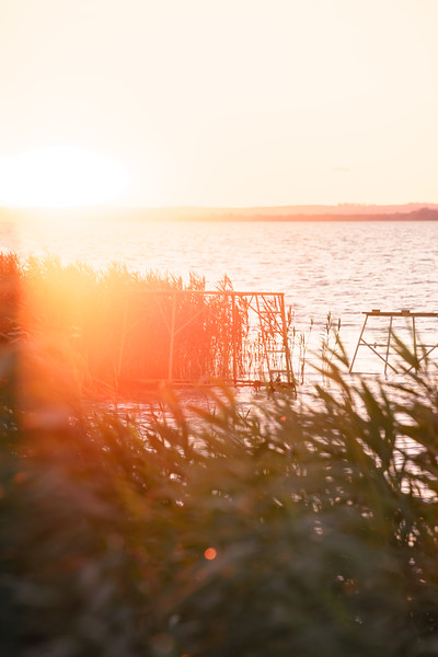 Lense flare sunset lake Balaton