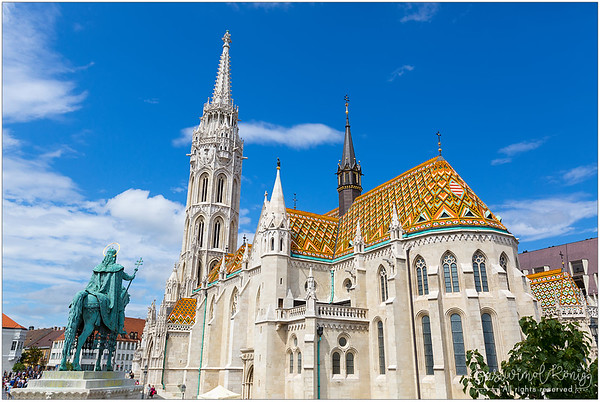 The equestrian statue of St Stephen, first king of Hungary, in front of Matthias Church