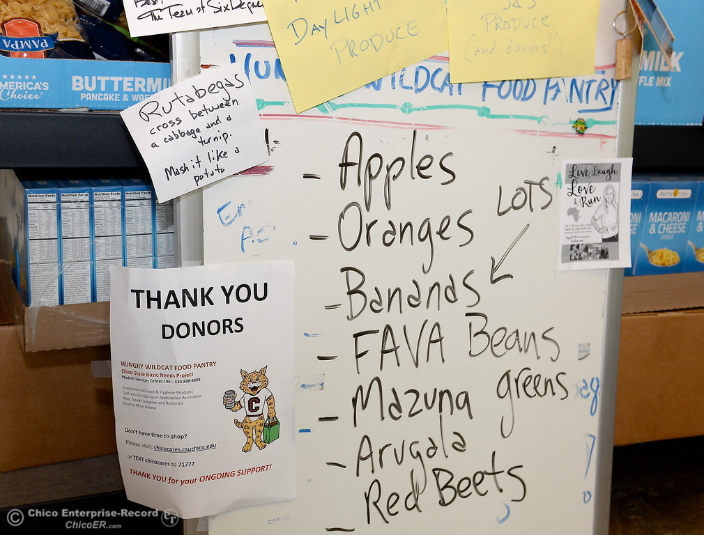 . Food of all kinds is available for hungry students at the Hungry Wildcat Food Pantry located at the Student Services Center room 196 on the CSUC campus Tuesday May 8, 2018. (Bill Husa -- Enterprise-Record)