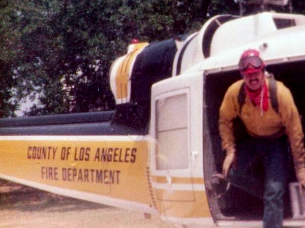 Me working for LA County Fire Dept 1982. This is the helicopter I used to fly in to fight fires.