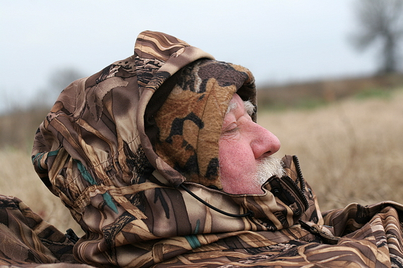 Pete Johnston taking a nap on the levee.  It was warm in Arkansas just like it was in New York.  With such nice weather the birds didn't want to fly very much and it was so nice that we often took short naps just like I caught Pete doing when I took his photo.