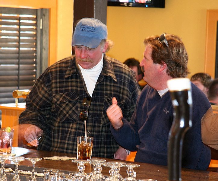 Here is a classic, Bruce Metcalf and Dickie Lowrey having a drink at the bar.  It was very rare since they don't really drink that much.<br /> <br /> It was a great day and Foz will cater the nest DU Game Dinner at Bocce Beach in the fall.  Be ready to have a great time.<br /> <br /> Captain Al Lorenzetti