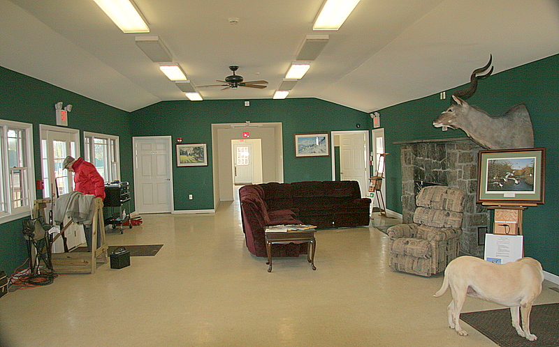 The main room of the lodge is warm and comfortable with lots of room to hang with your buddies between rounds of trap, skeet, five stand or sporting clays.