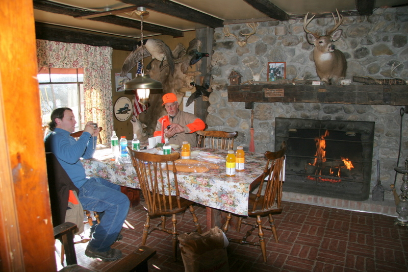 Phil and Artie enjoying some food for lunch by the fire place.  We did a hunt in the morning and then broke for lunch before a round of sporting clays to finish the day.