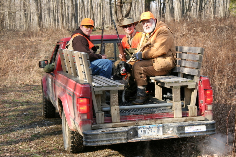 Tom came out in a truck to help us make the move to a new field.  Tom visits during the hunt to bring additional items from the lodge if needed and also usually has some refreshments, coffe, water, cookies etc. to make the hunt relaxing and enjoyable.
