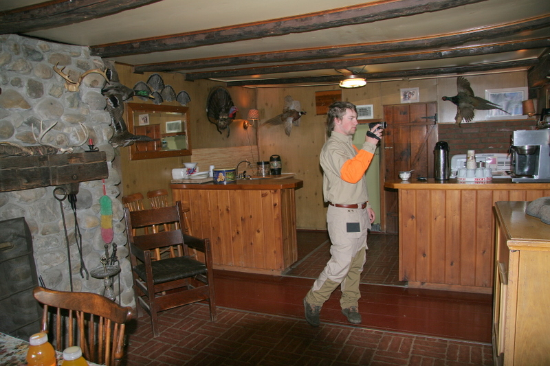 Buddy Cipoletti in the Kitchen area of the lodge at TMT.  He is shooting some video of the lodge.  I will post a video clip of the trip in the near future.