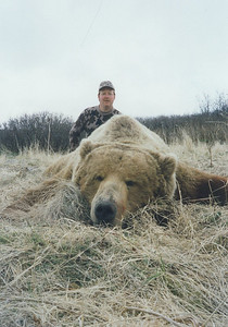 John Garr is featured here with his Alaska Brown Bear taken with Guide Don Anderson hunting the Alaskan Peninsula from Bear Lake Lodge. John has also hunted in Texas on several hunts for exotics as well as Mexico Coues deer with Don. John is a very accomplished bow hunter. This bear was a very large 10 foot plus bear and it was later mounted life-size by Anderson Taxidermy. Hunts are offered exclusively through Anderson Taxidermy & Guide Service, Inc. Contact Don Anderson to inquire about booking your hunt for the new year ahead. www.thehuntpro.com