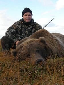Brown Bear Hunting in Alaska with Don Anderson in a Fall hunting season provided the opportunity for Lars Andreason of Sweden to harvest this beautiful bear. Bear hunting in Alaska in the fall offers a hunter an opportunity to take a bear with exceptionally long lustrous hair. This bear squared better then 9 foot 8 inches. This bear made a beautiful brown bear rug and later shipped to Lars upon completion by Anderson Taxidermy. Hunts are offered exclusively through Anderson Taxidermy & Guide Service, Inc. Contact Don Anderson to inquire about booking your hunt for the new year ahead. www.thehuntpro.com