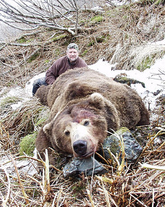 Over the course of time shared hunting Roosevelt elk and Mule Deer on Santa Rosa Island, with Guide Don Anderson, Paul Sweeney decided to book his hunt bear in Alaska with Don Anderson for a Spring season Alaska Brown Bear. The hunt was booked and Paul took this 10 foot 8 inch bear with Bear Lake Lodge hunting with friend and guide Don Anderson. Hunts are offered exclusively through Anderson Taxidermy & Guide Service, Inc. Contact Don Anderson to inquire about booking your hunt for the new year ahead. www.thehuntpro.com