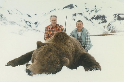 Alaska Brown Bear Hunts in the Spring provide a discerning hunter the opportunity to take exceptional bears such as the one featured here. This bear squared well over 10 feet. Guide Don Anderson of Bear Lake Lodge guided the hunter on the left, while his friend had taken his own bear on a previous hunt came along on the trip. Hunts are offered exclusively through Anderson Taxidermy & Guide Service, Inc. Contact Don Anderson to inquire about booking your hunt for the new year ahead. www.thehuntpro.com