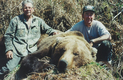 Friendships are formed in time shared in the field. Here you see Les Kohler from California with his 10 foot plus Brown bear and guide Don Anderson. Les and Don became fast friends and hunted together for years to come. Les is no longer with us, however the memories made over the years together over the years sustain us of good times shared with a very dear friend. Hunts are offered exclusively through Anderson Taxidermy & Guide Service, Inc. Contact Don Anderson to inquire about booking your hunt for the new year ahead. www.thehuntpro.com