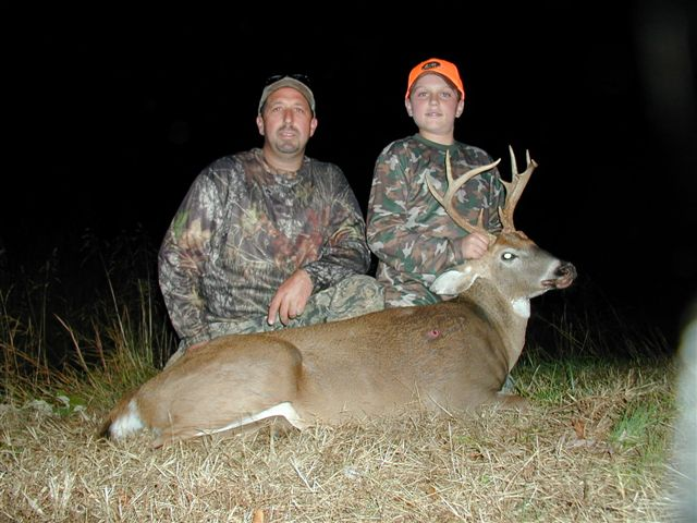 Pictured her is Mike Girraputo and his son Cody.  This was Cody's first season hunting alone in a stand.  This 10 point buck was taken with a muzzleloader in Virginia.  Notice the nice shot just behind the shoulder.