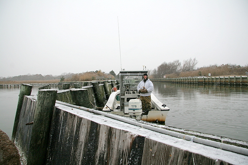 Jim Conte tending the boat and waiting for some action.