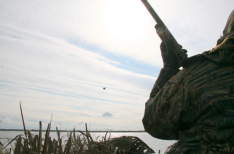 This is a shot of Julien and the black duck he just shot as it fell towards the water.