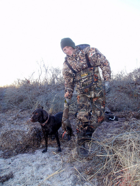 Scout, PJ and a nice black duck.