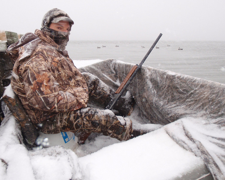 The weather kept the birds flying and sometimes it was almost a white out with the snow blowing but it was fun and good hunting.The hunting clothes available today are amazing at keeping you warm and they are very light. Frank and I get all our gear from Cabela's and it is great stuff.