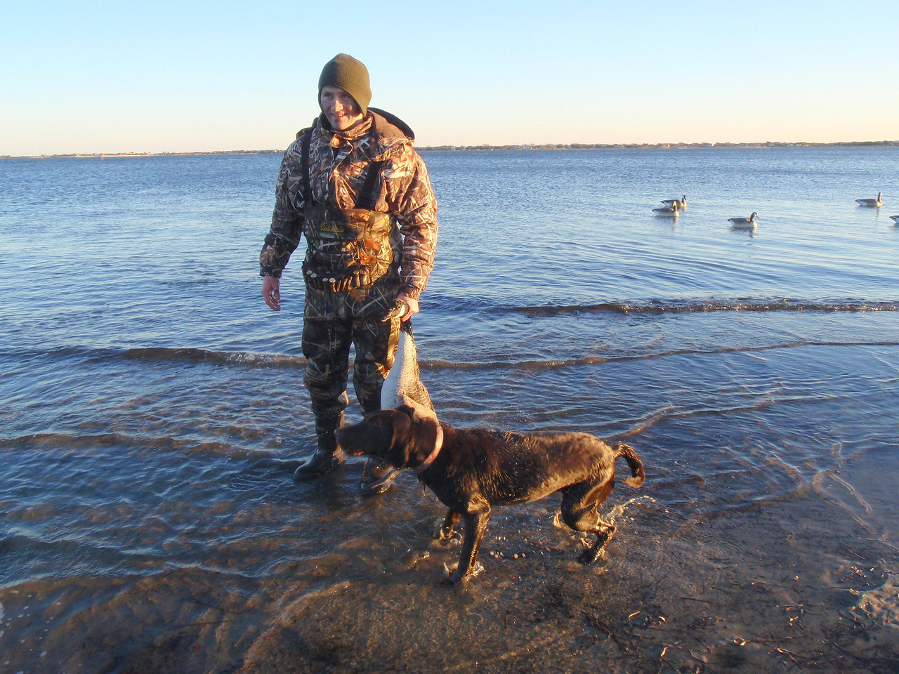 PJ and Scout with another goose.