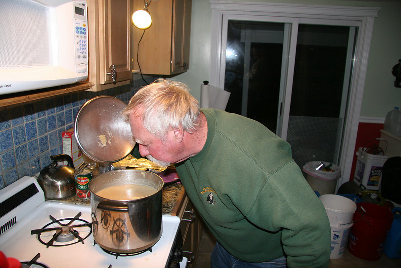 Pete putting the finishing touches on potato leek soup. It was great for lunch and dinner.