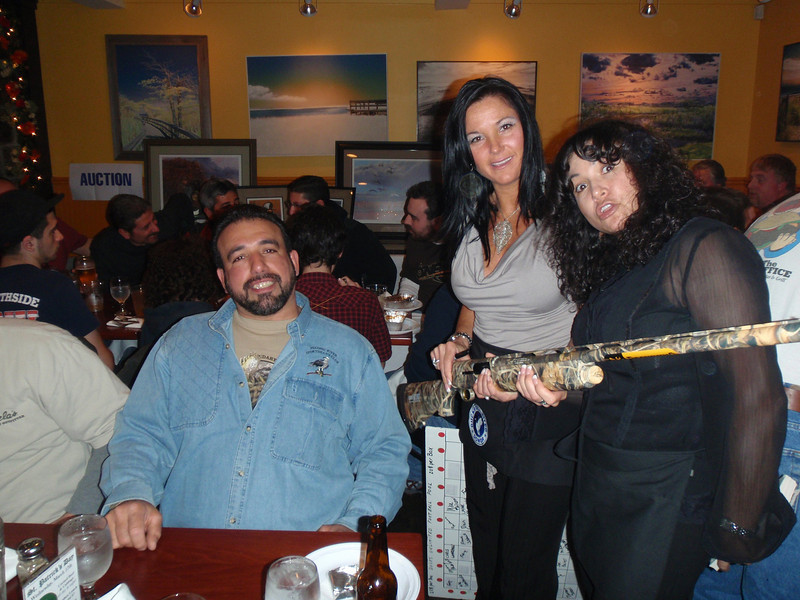 The big winner of the entire event ended up being Jeff Butta. Here he is being given his Browning Silver Camo Shotgun by the two women that handled all ticket sales and prize transactions.  They were great and really worked hard.<br /> <br /> Great gun Jeff and congratulations!