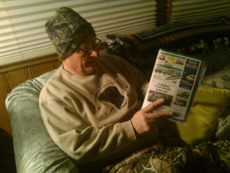 Jim catching up on his reading