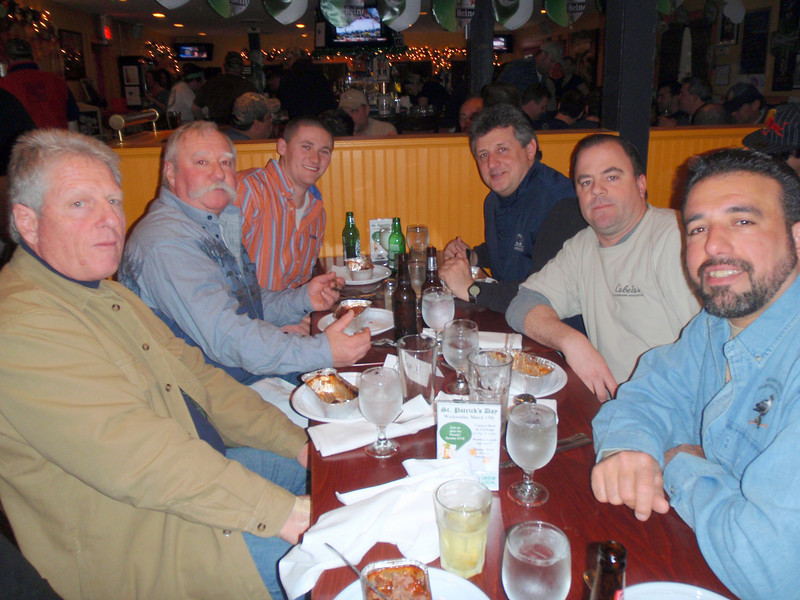 3/13/2010<br /> <br /> Today I attended a Ducks Unlimited dinner at Balckbirds Restaurant in Sayville with a bunch of my hunting buddies.<br /> <br /> From left to right are Jim Conte, Pete Johnston, PJ Johnston, George Yurcak, Glen, and Jeff Butta.<br /> <br /> We all had a great time with excellent game cooked by Peter Fozio. <br /> <br /> The event through raffles and live auction of fabulous art work, guns and other fine wildlife artifacts raises money for DU projects throughout the United States and Canada. These programs are used to improve waterfowl habitat and conservation programs.