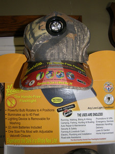 Consider the advantage of hands free flashlight. This cap is just what everyone needs for use in the dark  Current Price: $20.00