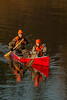 Hunting, hunting whitetail deer, hunters in canoe with buck