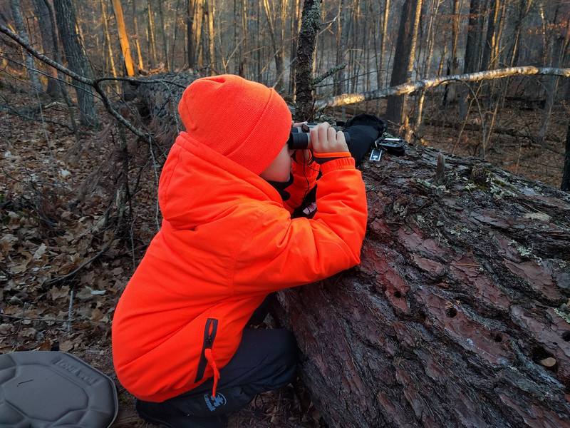 Grandpa sent a text saying he saw a deer and that it was headed our way. Bryce got excited and started scanning the woods with binoculars, which I later pointed out he was holding backwards.