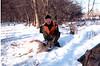 Lynette with a Velva, Nd doe on a snowy weekend.