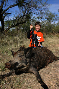 Aaron's first wild hog - 2005 - Salt Fork near Aspermont, Texas