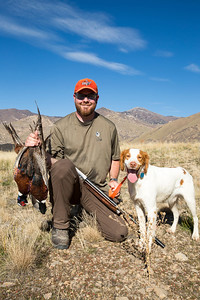 Jason Robinson shot two roosters on the opening day of the 2013 pheasant hunt in Utah. Photo by Michael Christensen, Utah Division of Wildlife Resources.