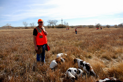 Brent Blundell, Bountiful, Utah, with his Springer Spaniels, brought along to help his grandsons bag a few birds.  The youth hunt was at Huntington Wildlife Management Area, 11-8-08.  Photo by Brent Stettler, Utah Division of Wildlife Resources.
