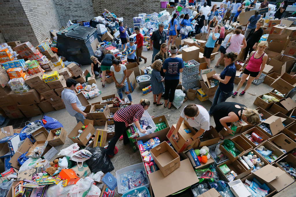 . Donated items sit in a loading dock are as volunteers works to organize the items donated for Hurricane Harvey victims, Tuesday, Aug. 29, 2017, in Dallas, Texas. AP Photo/Tony Gutierrez