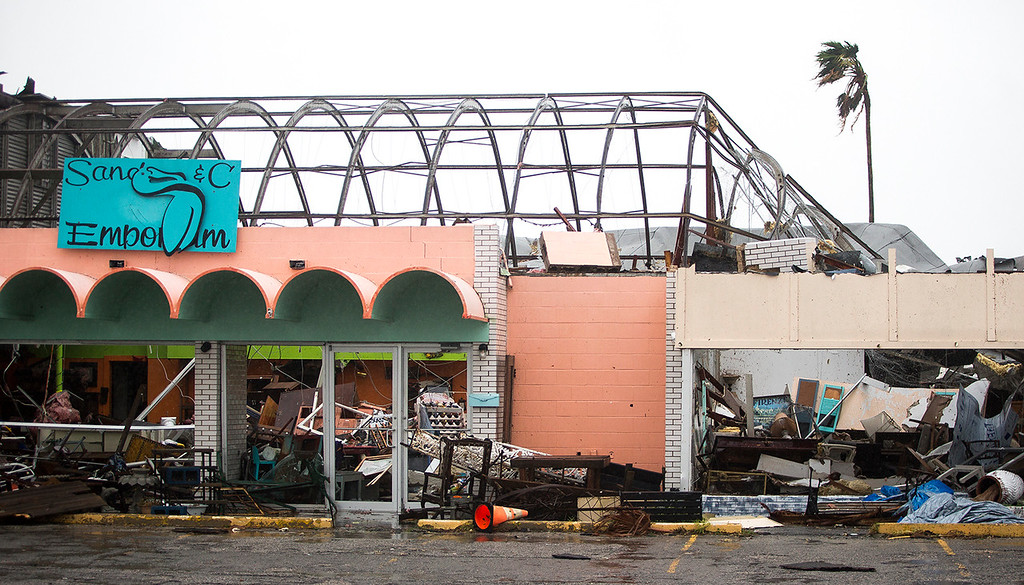 . Stores remain destroyed after Hurricane Harvey ripped through Rockport, Texas, on Saturday, Aug. 26, 2017.  The fiercest hurricane to hit the U.S. in more than a decade spun across hundreds of miles of coastline where communities had prepared for life-threatening storm surges, walls of water rushing inland. (Nick Wagner/Austin American-Statesman via AP)