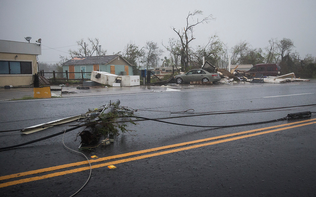 . Debris is strewn all over after Hurricane Harvey ripped through in Rockport, Texas, on Saturday, Aug. 26, 2017.  The fiercest hurricane to hit the U.S. in more than a decade spun across hundreds of miles of coastline where communities had prepared for life-threatening storm surges, walls of water rushing inland. (Nick Wagner/Austin American-Statesman via AP)